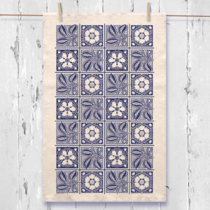 Dutch tile tea towel