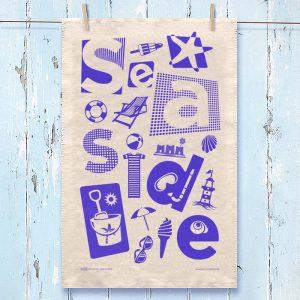 Seaside Tea Towel Blue