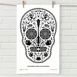 Sugar Skull Tea Towel White